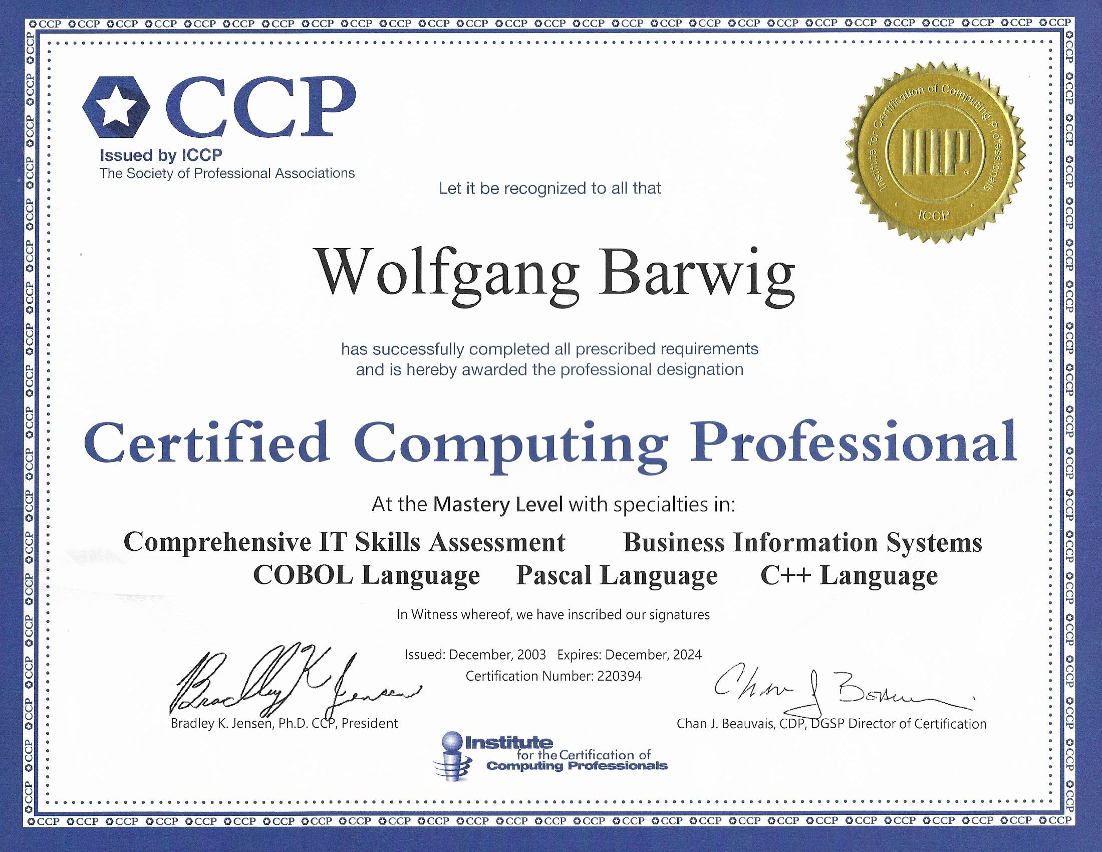 The barwig family certified computing professional ccp 1betcityfo Image collections